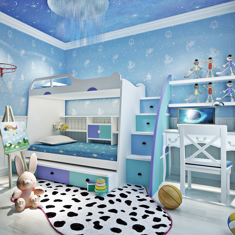 US $32.59 29% OFF|Beibehang fashion Wallpaper Roll Boys And Girls  Children\'s Room Bedroom Ceiling decoration pink blue Wallpaper roll  tapety-in ...