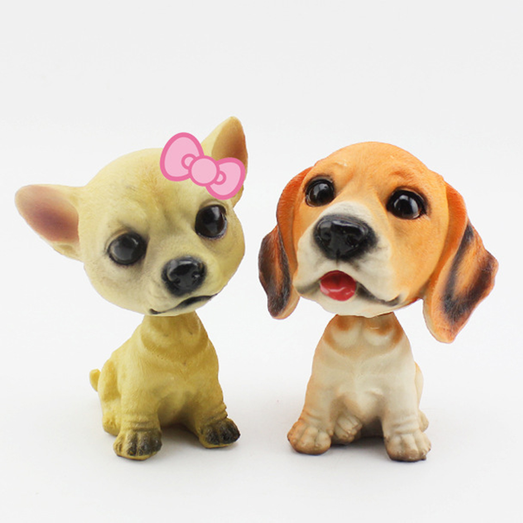 Car Ornament Shaking Dog Decoration Nodding Resin Puppy Dog Car Shaking Bobbing Head Dogs Car Dog Decoration