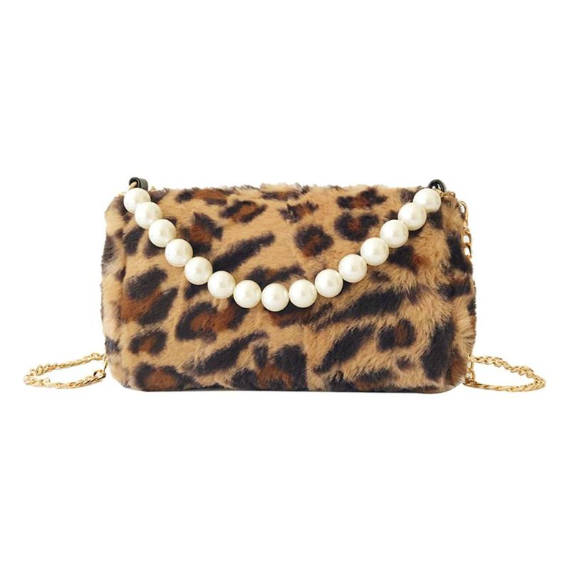 Pearl Leopard Print Handbags Chain Shoulder Bag Women Crossbody Messenger  Bags Features  Leopard Print Pattern. 0979961c20f79