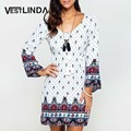 VESTLINDA Summer Bohemian T Shirt Dress V-Neck Ladies Flare Sleeve Vintage Pattern Print T-shirt Dress Casual Women Mini Dresses