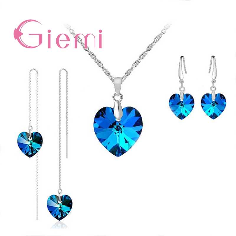 Blue Heart Jewelry Set Pendant Necklace 2 Pair Earrings For Women Original  Silver Wedding Party Collana Pendientes Pin