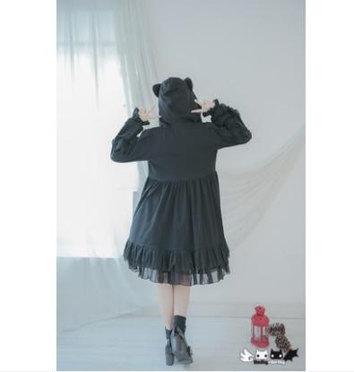 In Delly Coat Balze Lolita Cappotto Vento Lanterna Scuro Principessa Originale Della Manicotto dolly 0037 Dolley A Il Nero Dolce Metallo Donne Gatto Cerniera EqIx4Y