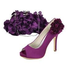 Elegante lila dame pumpen 3D blume blütenblatt mit passenden handtasche geldbörse für braut hochzeit gast cocktail süße outfit