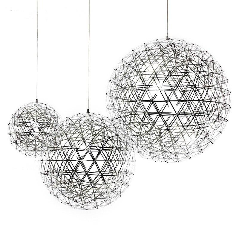 Boule ovale d'acier inoxydable de D30/40/50/60 cm 110 v 220 v LED lampe pendante de feu d'artifice 42 92 LED s lampe suspendue ronde d'acier