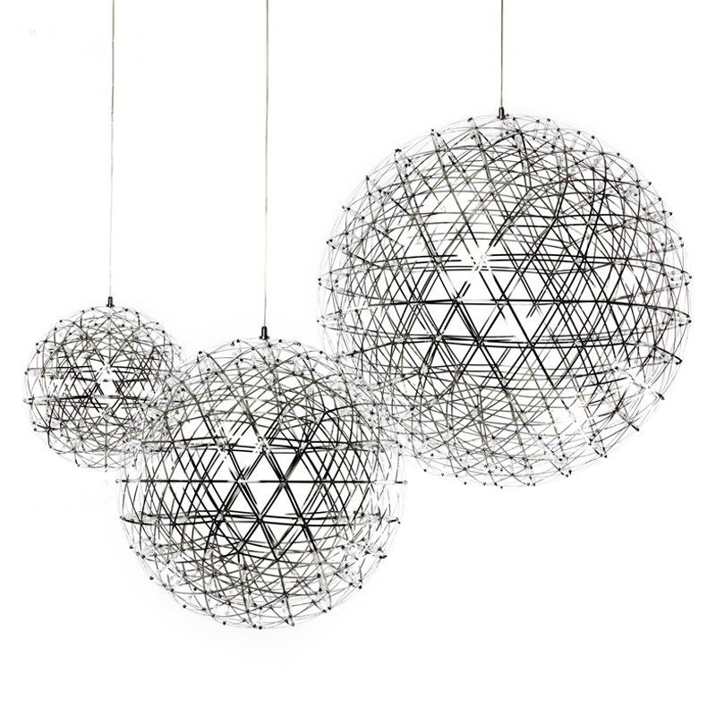 D30/40/50/60cm Oval Stainless Steel Ball 110v 220v LED Firework Pendant Light Lamp 42 92 Leds Round Steel Hanging Suspended Lamp