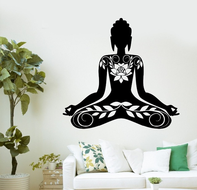 Buddha Meditation Mantra Zen Yoga Vinyl Decal Gym Home Decals PVC Wall Stickers Art Wallpaper Bedroom