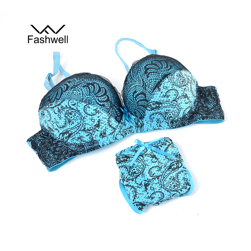 Fashwell Sexy Push Up Lace Women Underwear Panty   Set   Intimates Embroidery Floral Women   Bra     Brief     Sets