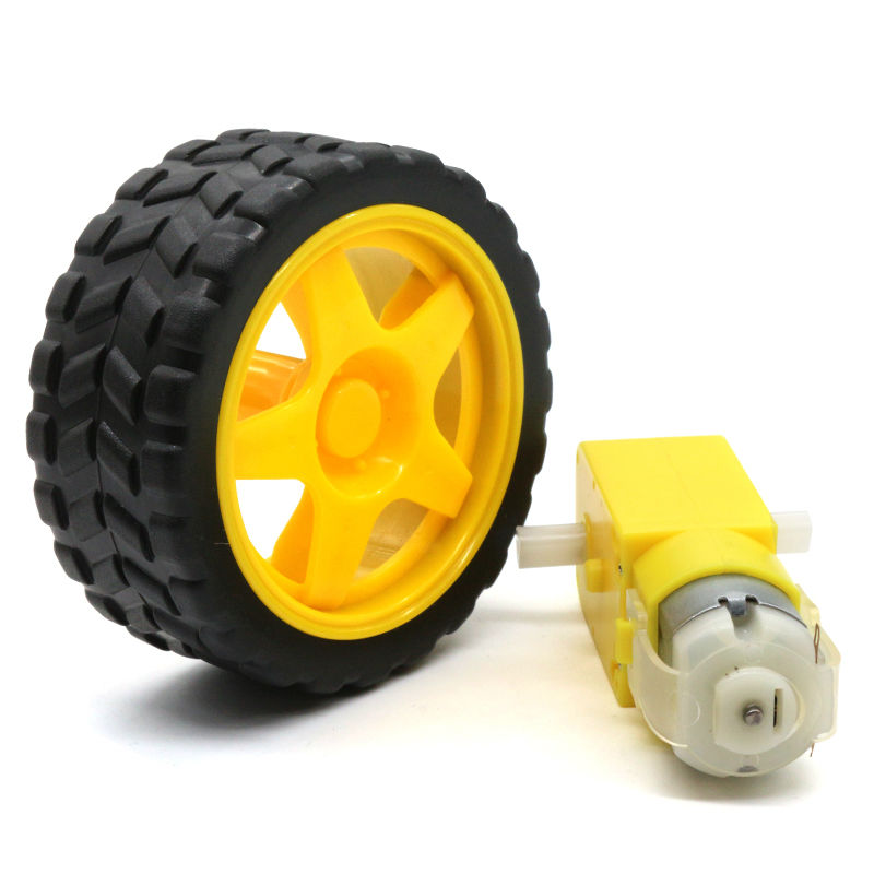 DIY Accessories Remote Smart Car Robot Plastic Gears Driver Motor Tyre tires wheel for Arduino intelligent