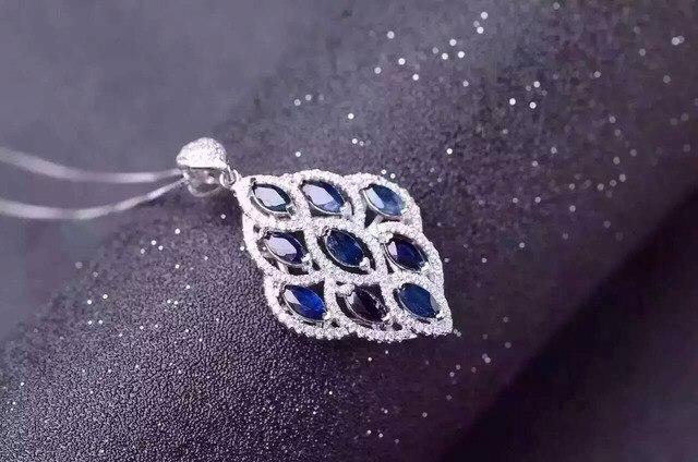 Natural azul zafiro piedra colgante S925 Collar de plata Colgante de piedras preciosas Naturales Deja a las mujeres de Lujo de moda del partido fine jewelry