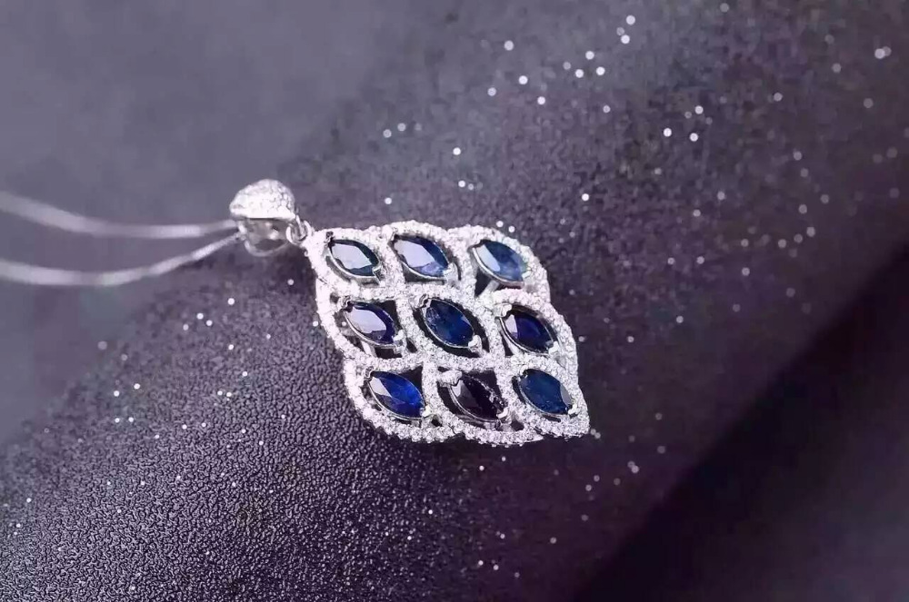 все цены на natural blue sapphire stone pendant S925 silver Natural gemstone Pendant Necklace trendy Luxury Leaves women party fine jewelry онлайн