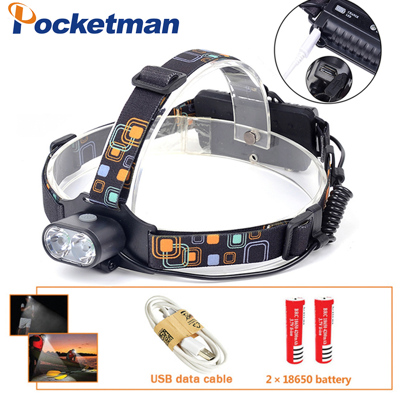 8000LM T6 LED Headlight White Light Head Lamp Flashlight 18650 Battery Headlamp For Camping Fishing Hunting