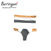 Burvogue New Bikini Set Women Summer Sexy Monokini Swimwear V Neck Bathing Suits Halter Hollow Push