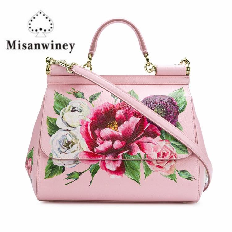 Luxury Brands Sicily Elegant Lady Bag Colorful Rose Flower Print Tote Handbag Genuine Leather Women Pink Messenger Shoulder Bags rose print drop shoulder crop pullover