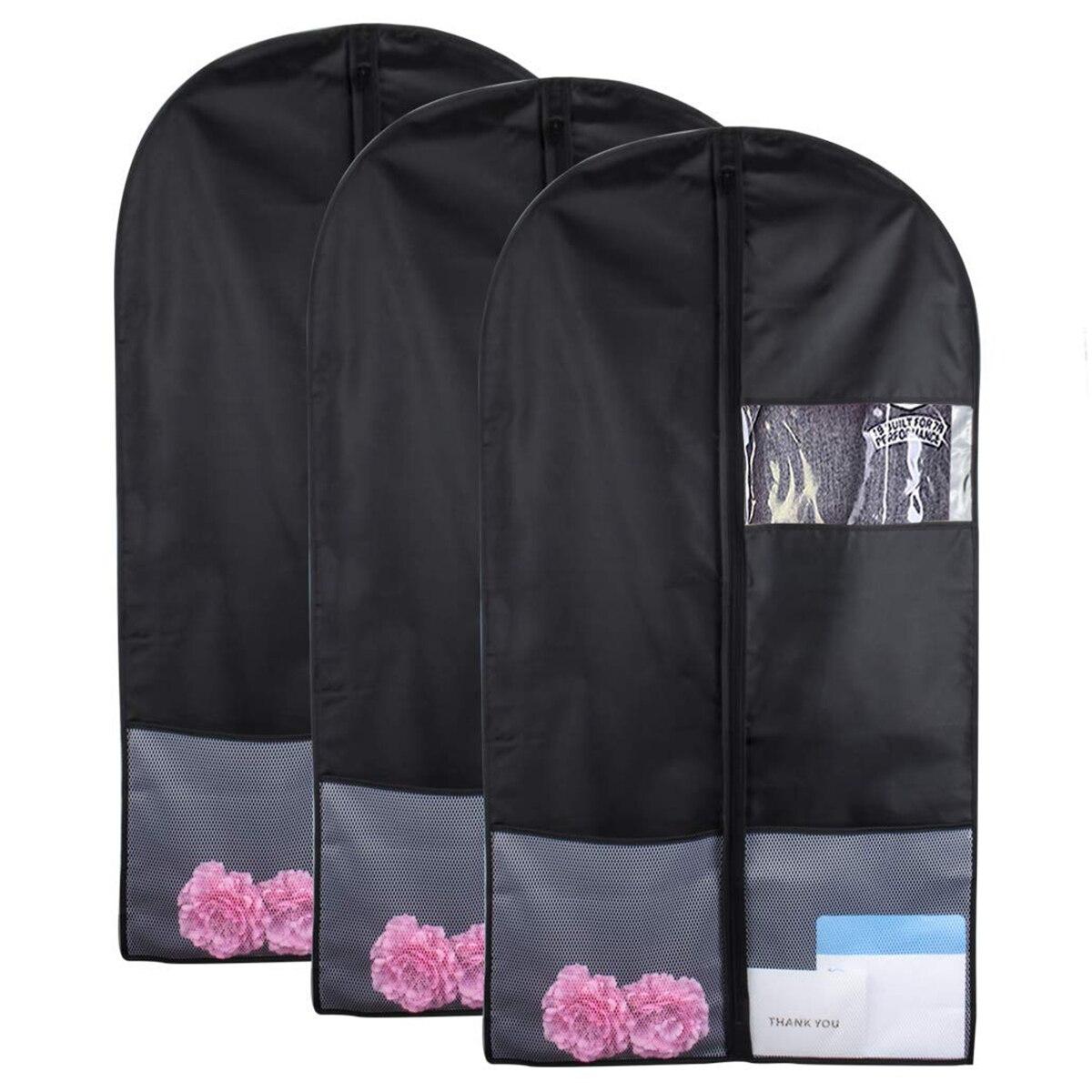 YHYS sac de vêtement avec poches, sacs de vêtement de 43 pouces pour le stockage sac de vêtement de danse sac de costume avec fenêtre transparente (lot de 3)
