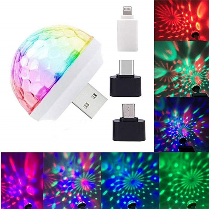 Disco Lights, Mini USB Colorful Lights, Self-propelled Crystal Magic Ball Stage Lights, USB Port Power Supply, Good Choice