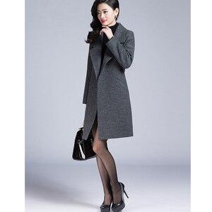 Image 4 - VogorSean Donna Autunno Inverno Cappotto Caldo Misto Lana Lungo Cappotto di Cachemire Femminile Cappotti Europeo Rivestimento di Modo Outwear Plus Size