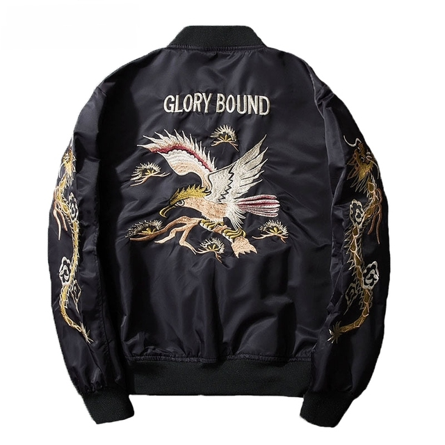 AmberHeard Fashion Spring Autumn Men Jacket Streetwear Dragon Eagle Embroidery Japan Black Bomber Jacket MA1 Flight Aviator Coat