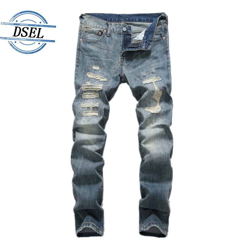Super Comfort Patch Jeans Men Ripped Slim Fit Denim Pants DSEL Brand Clothing High Quality Cotton Men`s Moto Jeans J8001 patch jeans ripped trousers male slim straight denim blue jeans men high quality famous brand men s jeans dsel plus size 5704