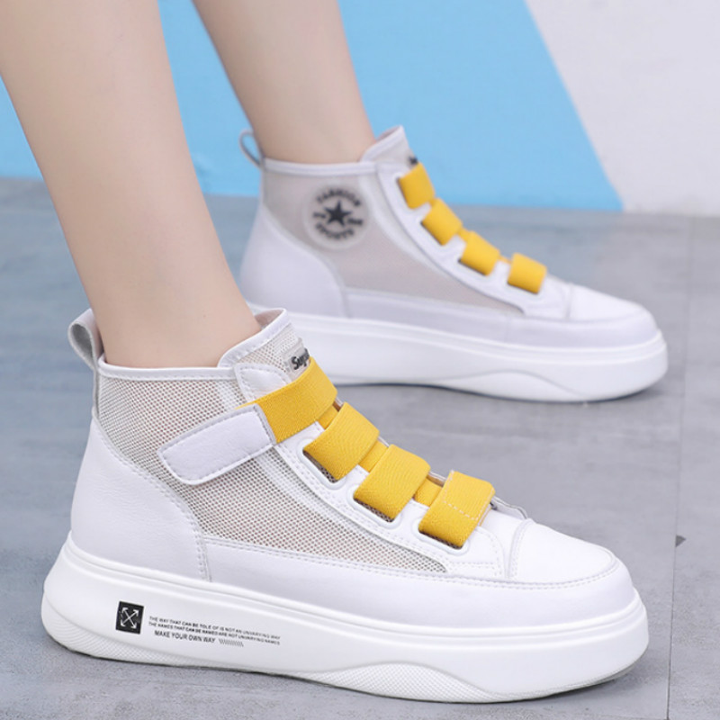 Spring Autumn New Mesh Women's Platform Chunky Sneakers Fashion Breathable Women Flat Thick Sole Increase Shoes Woman X1-65(China)