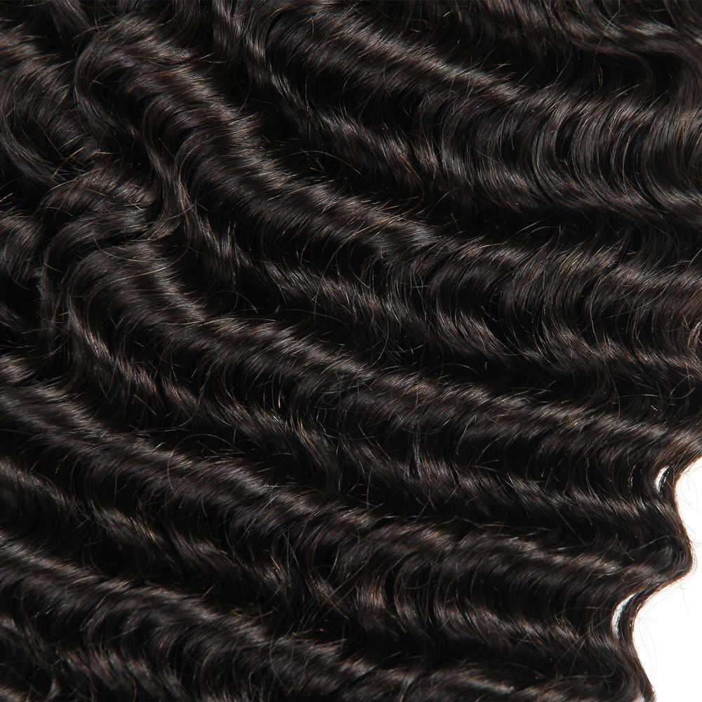 Pelo brasileño 3 paquetes de onda profunda con mano Frontal atado 4X13 extensiones de cabello humano Remy Cierre de encaje