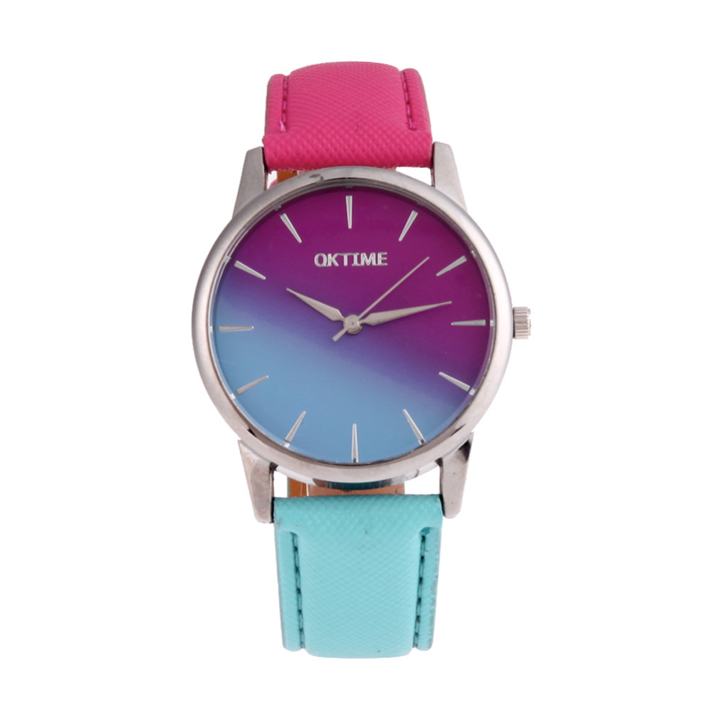 Colorful Changing Lovers Watches Casual Candy Color Quartz Watch Leather Strap Belt Ladies Student WristWatch Bracelet clock