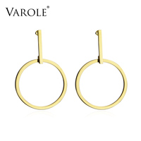 VAROLE Exaggerated Large Single Circle Stud Earrings For Women Rose Gold Plated Stainless Steel Earrings Jewelry