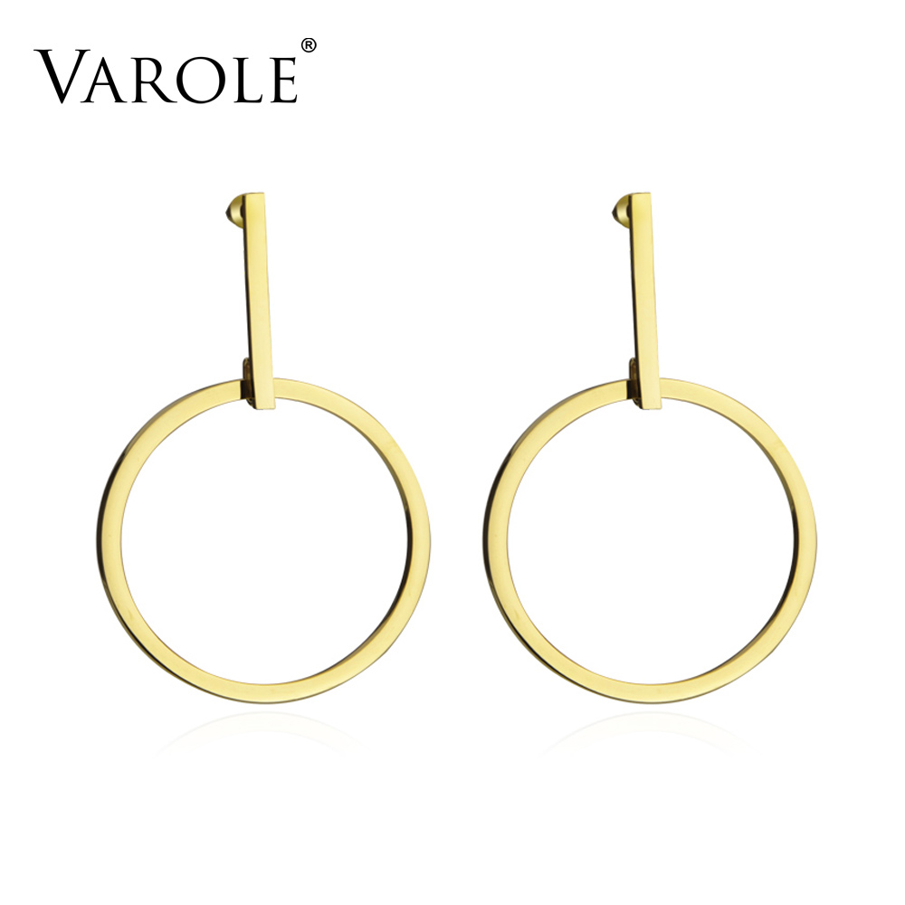 VAROLE Exaggerated Large Single Circle Drop Earrings for Women Gold Color Stainless Steel Long Dangle Earrings Jewelry Brincos коробка для клапана gardena v1 01254 29 000 00