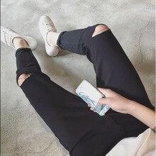 Top quality 2019 Fashion jeans harem knee hole foot men's pencil pants teenagers hip hop Casual black blue denim cowboy trousers fashion 2017 jeans harem summer denim men s knee hole hip hop black blue street city solid feet pants teenagers pencil pants