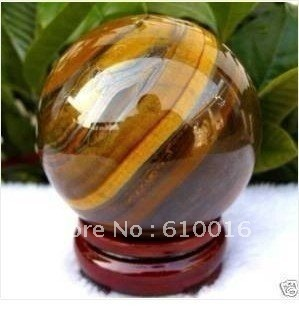 Free Shipping>>>>TE062 Natural tiger eye quartz crystal Sphere 60 MM + STAND