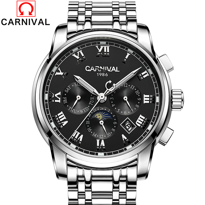 Luxury Brands Carnival watch relogio masculine men sapphire Gold stainless steel waterproof Wristwatches Automatic machine watch