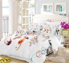 Colorful Feather Print Bedding Set Bohemia Style Duvet Cover Dreamcatcher Bed Soft Bedclothes ropa de cama 3pcs D40