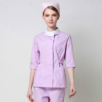 The nurse wears a split suit in the long sleeved dental mouth ICU cosmetic month home care purple overalls