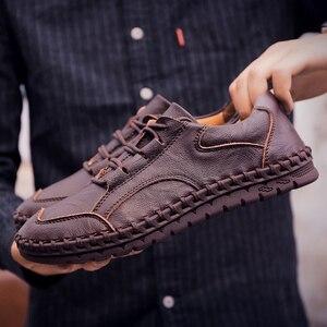 Image 3 - ชายรองเท้าหนังผู้ชายหรูหรายี่ห้อ Design Handmade Loafers ผู้ชายรองเท้าหนังแท้รองเท้าหนังแท้คัทชูรองเท้าผ้าใบ Oxford