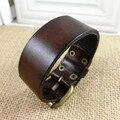 28cm Adjustable long PU leather belt bangles bracelets for men fashion punk wristband braided charm cuff bracelet women 5 colors