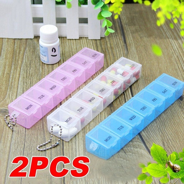 2Pcs Transparent Medicine Box Rectangle 7 Day Weekly Medicine Case Pill Storage Box Pill Case