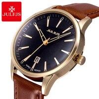 Mens Business Classic Fashion Casual Japan Quartz Watch Men High Quality Leather Wristwatch Luxury Top Brand Julius 372 Clock