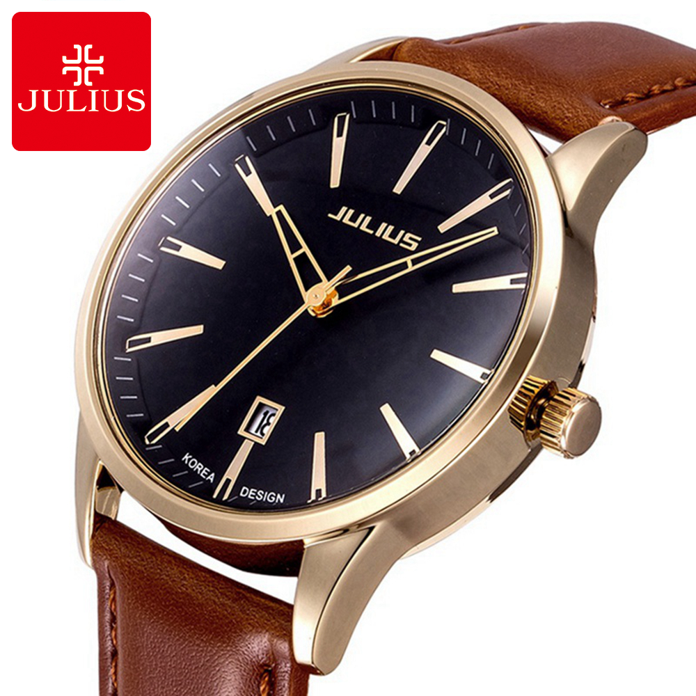 Mens Business Classic Fashion Casual Japan Quartz Watch Men High Quality Leather Wristwatch Luxury Top Brand Julius 372 Clock mens watch top luxury brand fashion hollow clock male casual sport wristwatch men pirate skull style quartz watch reloj homber