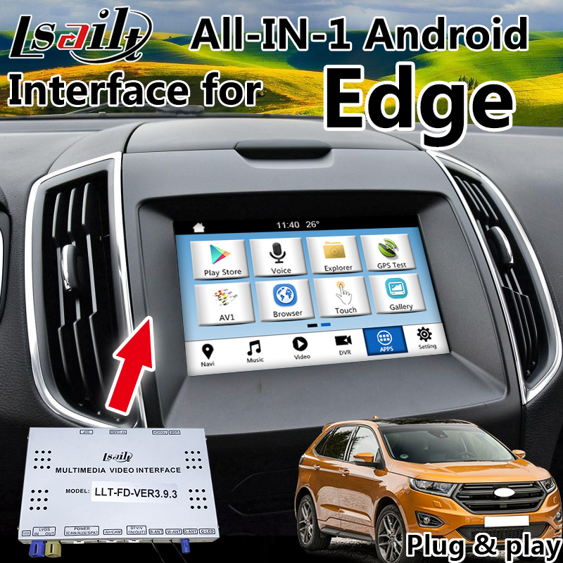 Navigation GPS Android tout-en-1 Plug & Play pour Ford SYNC 3 Edge Fiesta etc avec commande au volant de l'application Mirrorlink