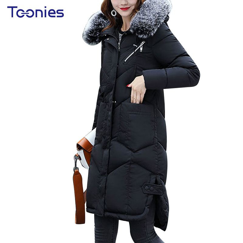 HIgh Quality Warm Fur Fashion Hooded Coat Winter Jacket Woman 2017 Solid Color Zipper Down Cotton Parka Plus Size Slim Outwear