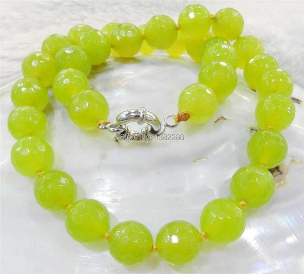 """Pretty 10mm Yellow-White Agate Gemstones Round Beads Necklace 18/"""""""