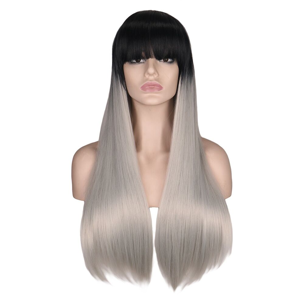 QQXCAIW Long Straight Wig For Women Black To Grey Synthetic Wig With Bangs High Temperature Natural Costume Wigs