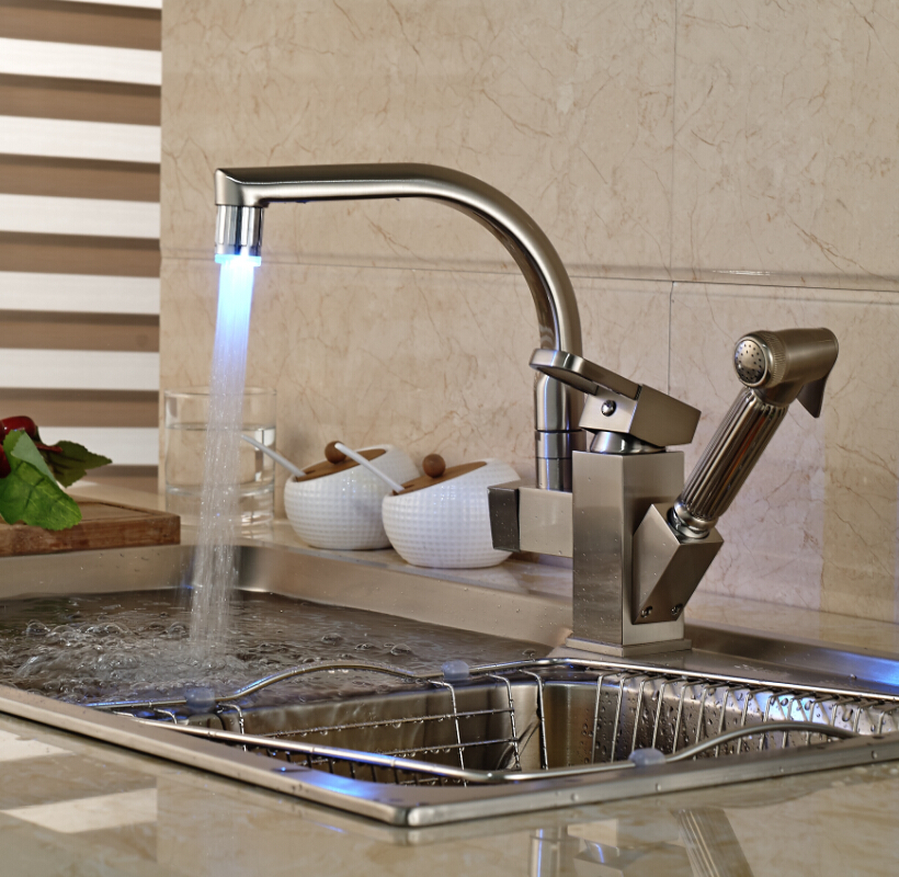 ФОТО Brushed Nickel LED Light Kitchen Mixer Faucet Deck Mounted Side-sprayer Double Spout Hot and Cold Water Taps