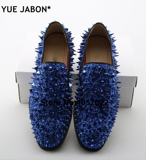 Fashion Gold Spiked Loafers Shoes Men Bling Sequins Banque Wedding Shoes Male Slip On Rivets Men Shoes Leather Men loafers