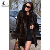 FURSARCAR One Piece Real Mink Fur Coat Women With Raccoon Fur Cuff O Neck Thick Warm Jacket Female Luxury Mink Fur Coat Hot Sale