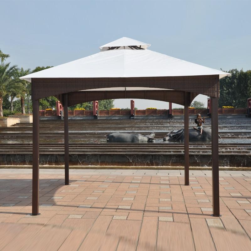 3*3 meter pavillons eisenrahmen wicker rattan pavillons eisen zelt ...