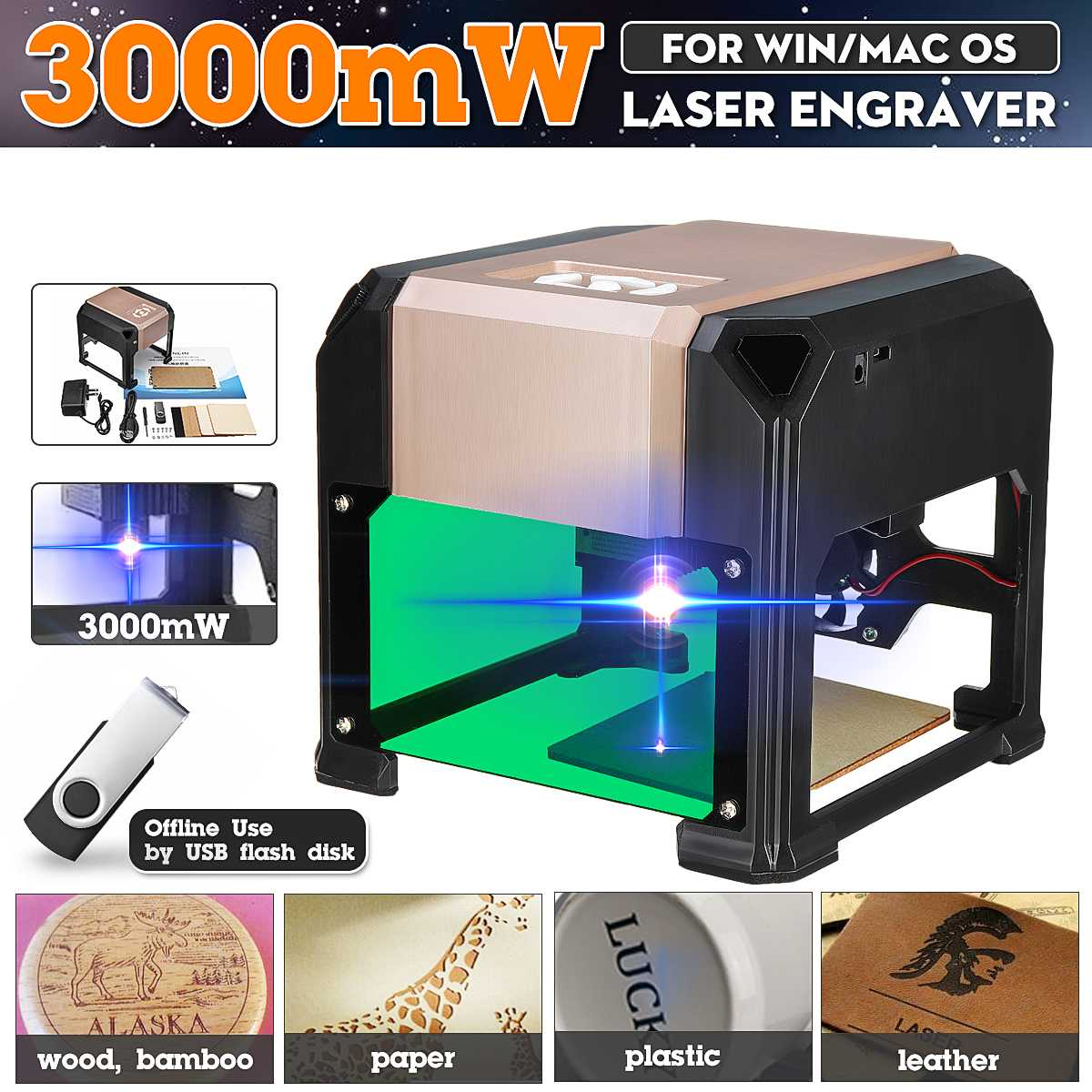 2000 Mw/3000 Mw Usb Desktop Laser Graveur Machine 80X80 Mm Graveren Bereik Diy Logo Mark Printer cutter Cnc Laser Carving Machine