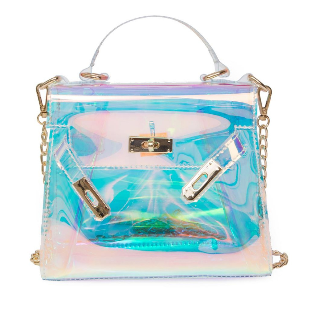 Fashion Blue Transparent Handbag Holographic Stachel female Purse Clutch Women Chain Messenger Bag Large Laser Lock Beach Bag цена