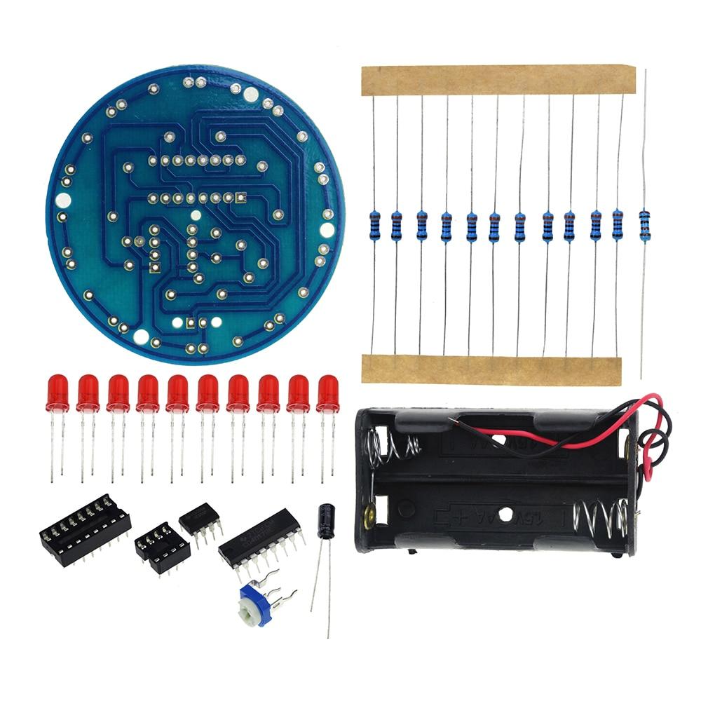 Diy Electronic Led Chaser Lights Frequency Counter Kit Ne555 Cd4017 3v Using 4017 Smart Running Water Light Make Horse Race Lamp