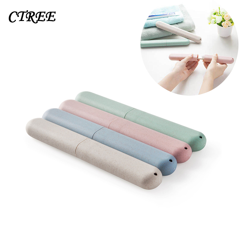 CTREE 1 Pcs Wheat Straw Mount Toothbrush Box Holder Portable Tooth Brush Cover Organizer Box Travel Bathroom Accessories C816 in Bottles Jars Boxes from Home Garden