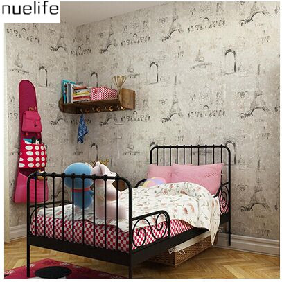 ФОТО 0.53x10m Retro Nostalgic French Wallpapers Eiffel Tower Paris Pattern Kids Room Bedroom Living Room TV Wallpapers